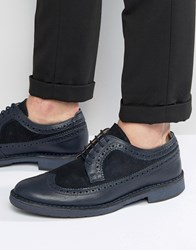 Selected Homme Ronald Leather Brogue Shoes Blue Navy