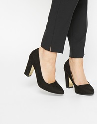 Oasis Black Block Heeled Court Shoes