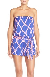 Lilly Pulitzer Lilly Pullitzer 'Ritz' Strapless Print Satin Romper Santorini