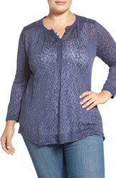 Lucky Brand Plus Size Women's Embroidered Yoke Mixed Media Henley Top