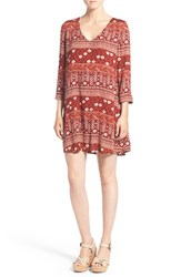 Hinge Women's Print V Neck Shift Dress Red Ochre Henna Print