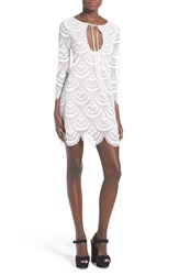 Women's For Love And Lemons 'Rosalita' Scalloped Lace Sheath Dress White