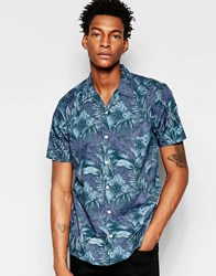 Minimum Floral Short Sleeve Shirt Navy