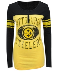 5Th And Ocean Women's Pittsburgh Steelers Henley T Shirt Yellow Black