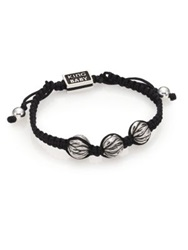 King Baby Studio Sterling Silver And Cotton Cord Drawstring Bracelet Black Silver