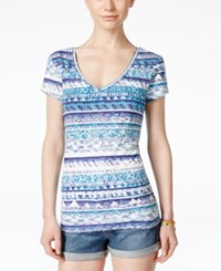 Energie Juniors' Mila Printed V Neck T Shirt Tribal Stripe