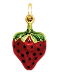 Macy's 14K Gold Charm Red And Green Puffed Strawberry Charm