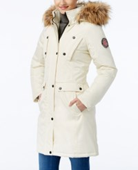 Madden Girl Faux Fur Trim Hooded Parka Cream