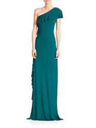 David Meister Solid Asymmetric Gown Jade