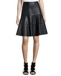 Cusp By Neiman Marcus Faux Leather A Line Knee Skirt Black