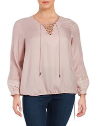 Jessica Simpson Plus Lise Lace Up Peasant Top Pink