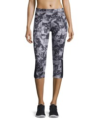 Marika Tek Ava Printed Mesh Panel Capri Leggings Rock Triangles Black