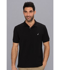 Nautica S S Solid Polo With Tape True Black Men's Short Sleeve Pullover