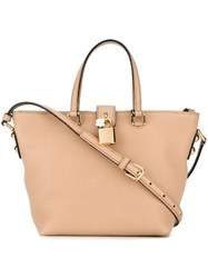 Dolce And Gabbana Small Trapeze Tote Nude And Neutrals
