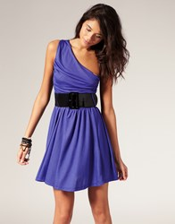 Miss Sixty One Shoulder Dress With Belt Purple