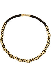 Noir Gold Plated Resin And Cotton Necklace Black