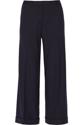 Tory Burch Fern Wool Crepe Wide Leg Pants Blue