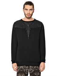 Marcelo Burlon Pando Leather Patched Cotton Sweatshirt