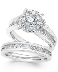 Macy's Diamond Cluster And Channel Set Bridal Set 2 Ct. T.W. In 14K White Gold