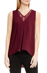 Vince Camuto Women's Lace Inset V Neck High Low Blouse