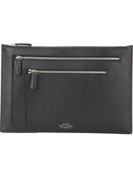 Smythson Multiple Zip Pockets Clutch Black