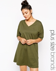 Alice And You Plain T Shirt Dress With Kimono Sleeve Khaki