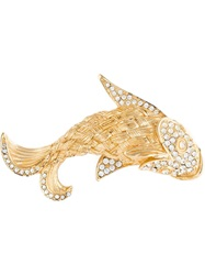 Christian Dior Vintage Crystal Fish Brooch Metallic