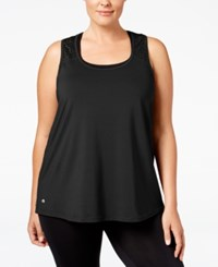 Ideology Plus Size Performance Racerback Tank Top Only At Macy's Noir
