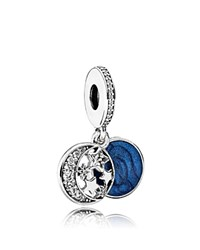 Pandora Design Charm Sterling Silver Blue Enamel And Cubic Zirconia Vintage Night Dangle Moments Collection Blue Silver