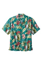 Men's Big And Tall Tommy Bahama 'Take Flight' Print Short Sleeve Linen Sport Shirt