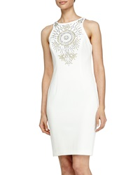 Alexia Admor Woven Embroidered Front Cocktail Dress White