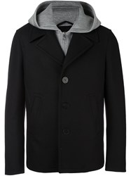 Neil Barrett Layered Hooded Jacket Black