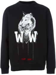Off White Wolf Print Sweatshirt Black
