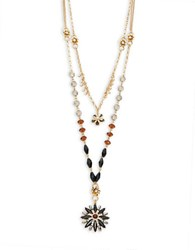 Design Lab Lord And Taylor Floral Beaded Nested Necklace Black