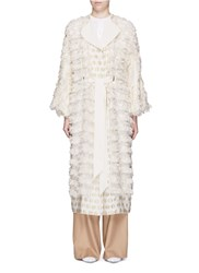 Mame Fringe Fil Coupe Wool Blend Coat White