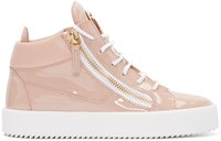 Giuseppe Zanotti Pink Patent Leather London High Top Sneakers