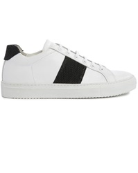 National Standard Edition 4 White Leather Black Stripe Sneakers
