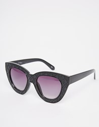 Jeepers Peepers Textured Cat Eye Sunglasses Black