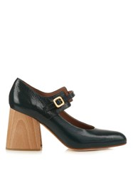 Marni Mary Jane Block Heel Pumps Dark Green