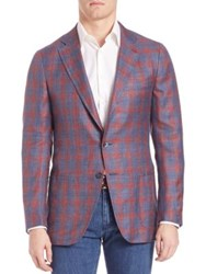Isaia Plaid Sportcoat Navy Red
