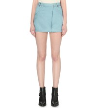 Allsaints Annett Folded Chambray Mini Skirt Light Indigo B