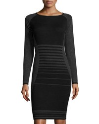 Max Studio Striped Long Sleeve Sweaterdress Black Gray