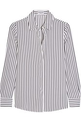 Frame Le Classic Striped Silk Crepe De Chine Shirt White