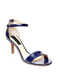 Steve Madden Vienna Leather Open Toe Strappy Sandals Navy Blue