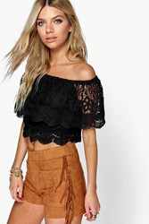Boohoo Crochet Lace Frill Off The Shoulder Top Black