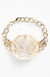 Moon And Lola 'Annabel' Large Oval Personalized Monogram Bracelet Nordstrom Exclusive Blonde Tortoise Gold