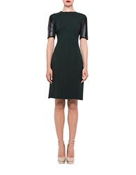 Alexia Admor Leather Accented Stretch Sheath Dress Pine