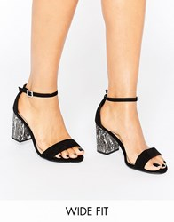 New Look Wide Fit Marble Effect Block Heel Sandal Black