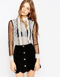 Asos Top With Crochet Lace Trim And Mesh High Neck Multi