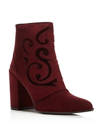 Stuart Weitzman Florish Suede And Velvet High Heel Booties Vine Purple